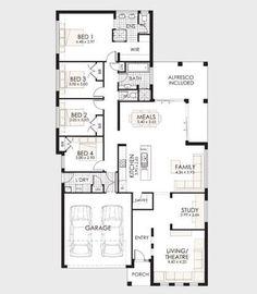 Plano de casa de un piso en terreno largo