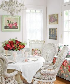 Sit back and relax in this feminine and fabulous shabby chic dining space. (Photography by Ellen McDermott)