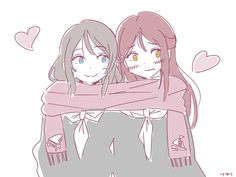 when its cold, in the morning on the bus i usually see girls sitting next to each other all cuddled sleeping on each other and sharing big scarfs, WOW I WOULD DIE Anime Girlxgirl, Yuri Anime, Kawaii Anime, Anime Best Friends, Lesbian Art, Lesbian Love, Anime Friendship, Cute Anime Pics, Pokemon