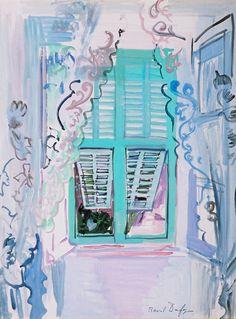 http://roberitatesac.wix.com/roberita-tesac La fenêtre aux volets verts, watercolor by Raoul Dufy.