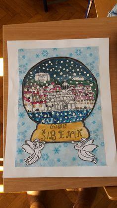 Božić u mom gradu Art Projects, Projects To Try, Education, School, Onderwijs, Learning, Art Designs