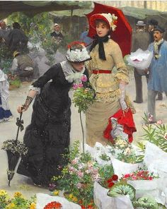 Spring flower market in the 1880's - Victor Gabriel Gilbert, Le marché des fleurs, (1880)