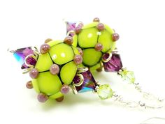 Purple Lime Chartreuse Green Earrings, Bumpy Lampwork Earrings, Bumpy Glass Earrings, Glass Bead Earrings. $34.00, via Etsy.
