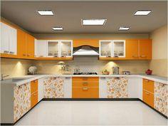 While - Yellow - Orange floral kitchen design