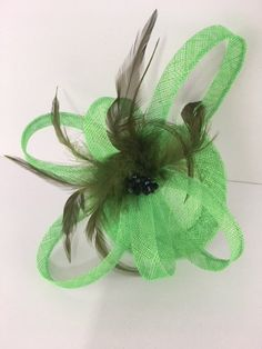 44536973 Fascinator, Wedding Hat, Stunning Apple Green Fascinator with Black Beads,  darker green Feather trim and dramatic loop accents