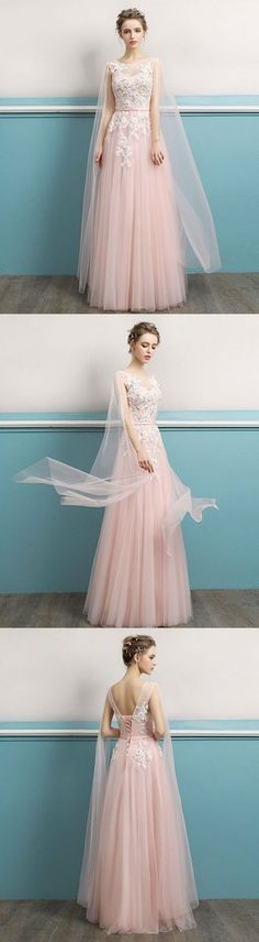 2018 new coming Pink round neck lace long prom dress, lace evening dress #prom #dress #promdress #promdresses