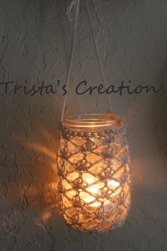 20 Cream crochet lace lantern style jar cover  by TristasCreations, $50.00