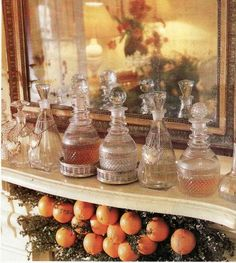 19th century crystal decanters in vignette - Kerry Moody, New Orleans