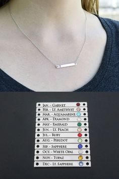 Silver Birthstone Bar Necklace,  Mom Gift, Bridesmaid Gift, Personalized Necklace, Friend Gift, Necklace  with Birthstone, Birthstone Necklace #barnecklace #birthstonenecklace #birthdaygift #friendgift #momgift #birthstonejewelry