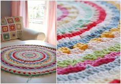 Colorful #crochet rug