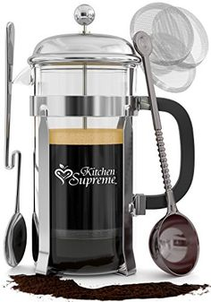 French Press Coffee Tea Maker Complete Bundle 34 Oz Best Coffee Press Pot with Stainless Steel Double German Glass * Learn more by visiting the image link. Best French Press Coffee, French Coffee, Coffee Maker Reviews, Best Coffee Maker, Supreme, Small Coffee Cups, Coffee And Tea Makers, Heat Resistant Glass, Coffee Gifts