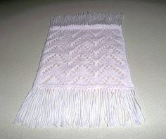 Light Pink Miniature Afghan with Fringe  Knitted by DelsYarnBasket, $7.25