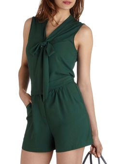 Rise and Pine Romper - Long, Green, Solid, Sleeveless, Pockets, Tie Neck, Casual, V Neck, Beach/Resort