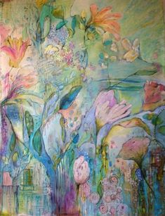 'in the meadow'.....www.annielockhart.com contemporary....abstract artist annie lockhart 50x68 acrylic on canvas .... painting workshops