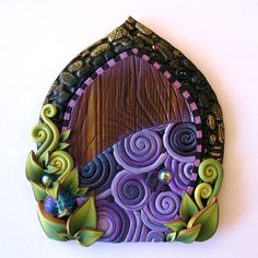 Daydream Fairy Door in Purple Miniature Pixie Portal by Claybykim All You Need Is, Tooth Fairy Doors, Fairy Garden Doors, Fairy Dust, The Hobbit, Daydream, Pixie, Polymer Clay, Unique Gifts