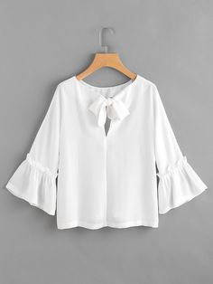 Blouses by BORNTOWEAR. Bow Tie Back Frill Bell Sleeve Top