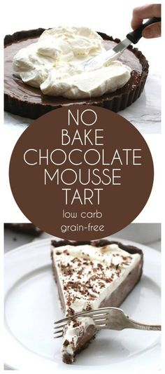 Low Carb Keto Chocolate Mousse Tart. No bake and so easy to make. THM, Atkins…