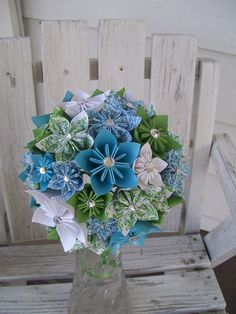 Custom Paper Flower Bridal Bouquet - Made to Order - Kusudama  via Etsy.