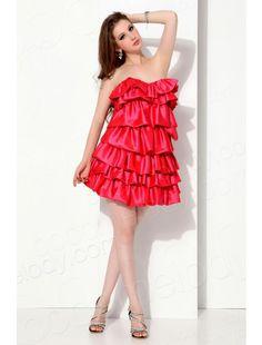 Cocomelody  Strapless Short Mini Taffeta Red Cocktail Dress