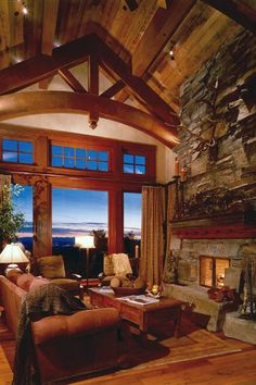Running Elk Guest Cabin Timber Frame Great Room In Bozeman, Montana (Locati  Architects)
