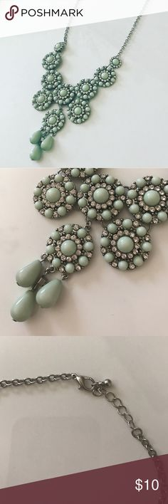 Aqua Bib necklace Shia/Rhinestone and silver Hardware Bib necklace with lobster clasp Jewelry Necklaces