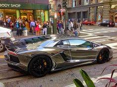 Black Chrome Tron Lamborghini Aventador !! Too Cool
