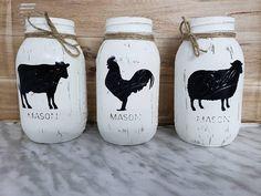 Farmhouse Decor, Rustic Decor, Painted Mason Jars, Rooster Decor, Farm Animal Vase, Farmhouse Centerpiece, Mason Jar Centerpiece, Sheep