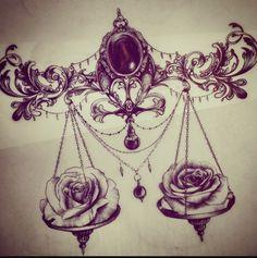 Libra sternum tattoo