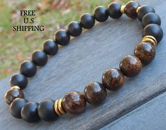 Decision making Men's Genuine Bronzite & Matte Onyx,  Meditation bracelet, Mens Mala, mens tribal, Reiki charged, mala beads, onyx bracelet
