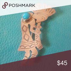 "Vintage Sterling Navajo Kokopelli Pendant/Brooch Maker's Mark  BB , STERLING. Turquoise stone that is bezel set. 2"" Long x 1/2"" Wide Vintage Jewelry"