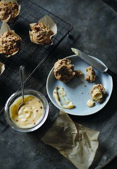 Swedish breakfasts: A traditional start to a Swedish day can be found in freshly baked rolls, scone-muffins with fruit curd, and an autumnal granola, courtesy of new book Lagom Breakfast Bake, Breakfast Recipes, Scandinavian Books, Book Extracts, Baking Scones, Baked Rolls, Curd Recipe, Freshly Baked