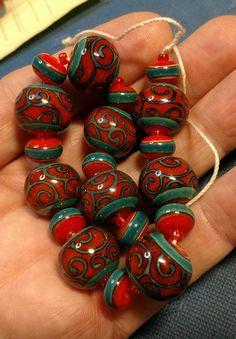 Polymer Beads, Lampwork Beads, Handmade Wire Jewelry, Unique Jewelry, Crafts Beautiful, Jewellery Boxes, Bead Art, Glass Art, Glass Beads