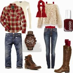 """""""Couples Autumn What To Wear"""" red + tan + denim + brown Family Picture Outfits, Couple Outfits, Casual Outfits, Winter Family Photos, Family Pictures, Fall Family, Fall Photos, What To Wear Fall, How To Wear"""