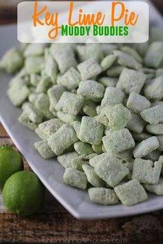 Key Lime Pie Muddy Buddies from This Mama Loves. A little more adult friendly version of muddy buddies aka puppy chow- key lime pie makes this a sweet treat that'll make you feel like you're on a beach down south! Snack Mix Recipes, Lime Recipes, Yummy Snacks, Delicious Desserts, Appetizer Recipes, Cooking Recipes, Yummy Food, Appetizers, Snack Mixes