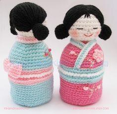Japanese kokeshi girls jewelry box Amigurumi PDF by handmadekitty