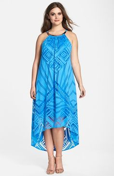 London Times Choker Detail High/Low Burnout Maxi Dress (Plus Size) available at #Nordstrom