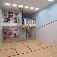 Best Home Plans with Indoor Basketball Court Home Basketball Court, Basketball Room, Basketball Tricks, Sports Court, Home Gym Design, House Design, Squash Club, Squash Game, Best Home Plans