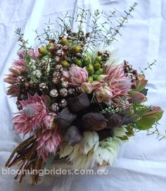 Australian Native Bridesmaid bouquet of mixed spring natives with sugar and spice blushing brides. Australian Native Garden, Australian Native Flowers, Trendy Wedding, Floral Wedding, Wedding Flowers, Wedding Ideas, Bride Bouquets, Bridesmaid Bouquet, Boquet