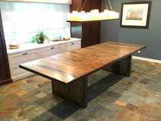 long dining table made by Timberguy from remnants of the 1885 Schooner Yacht Coronet (Featured in artwork on back wall) Reclaimed Wood Furniture, Custom Furniture, Furniture Making, Office Furniture, Faux Beams, Old Houses, Floating Shelves, Countertops, Dining Table