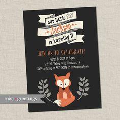 Fox Birthday Party Invitations - Little Woodland Birthday Party Invites - vintage first baby birthday (Printable Digital File)
