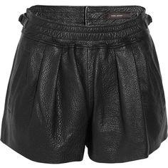 Isabel Marant Abon textured-leather shorts ($1,005) ❤ liked on Polyvore