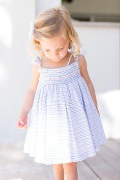 Petit Atelier Isabella Hand Smock Seersucker Girl's Dress