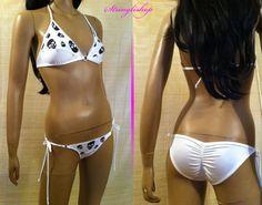Sexy Gogo Bikini in weiß Lycra Strasssteine Stringlishop