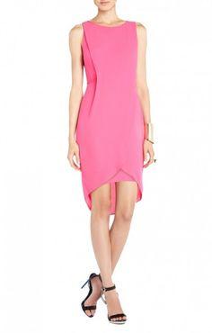 $165.00 BCBG AUDRA WRAP COCKTAIL DRESS NEON PINK