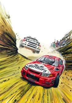 Tommi Makinen Mitsubishi Lancer Rally WRC Affiche Racing Car Art Print Poster