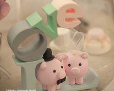 pollo y cerdo topper de la torta torta de bodas