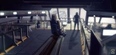 """Commander-in-Chief on """"Project IM"""" General Sebastian Travis standing on the bridge of AIV Kitty Hawk getting his morning coffee while listening to the daily candidate progress-report from 'SARA'."""