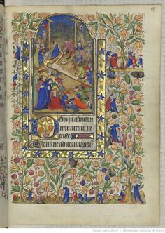 Horae ad usum romanum.  Crucifixion of Christ.  With this one, look at the ladies on the right side of the page - many of them have slit dresses!