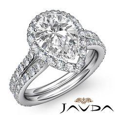 Pear Shape Diamond Engagement Ring GIA I Color VS2 Clarity 14k White Gold 2 3 Ct | eBay