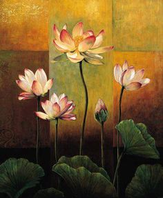 A lovely Lotus  painting would add beauty to any room. Hang in 2nd Bedroom